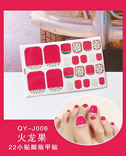 BGPOM Foot Stickers Nail Stickers Nail Stickers Fully Waterproof Lasting 3D Toenail Stickers Patch 10 Sheets/Set,Dragon Fruit (QY-J006)