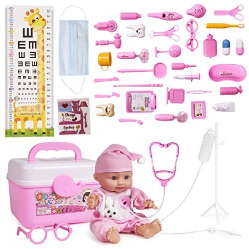 THE TWIDDLERS 40 Pezzi Kit Dottoressa per Bambini con Bambola, Valigetta e Altro