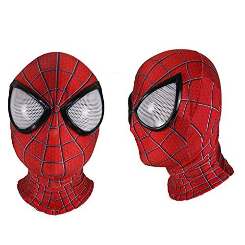 MIANslippers Spiderman Cosplay Mscara de Cara Completa Superhroe Disfraz Que Cubre la Cabeza 3D HD Impreso Sombreros Transpirable Fiesta de cumpleaos Casco The Amazing Spider-Man,Red