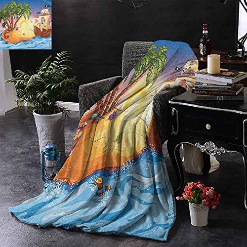 ZSUO bank deken spookschip op exotische zee in de buurt van schateiland met palmbomen en open borst zachte en comfortabele slaapbank