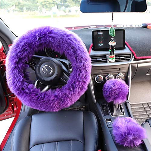 Yontree Steering Wheel Cover with Handbrake Cover Gear Shift Cover Winter Warm Faux Wool 14.96'x 14.96' 1 Set 3 Pcs Purple