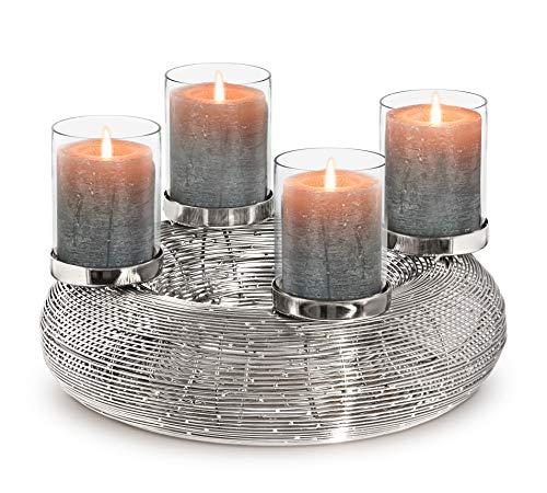 EDZARD Adventkranz Verona mit Kerzengläsern, Edelstahl vernickelt, Ø 36 cm
