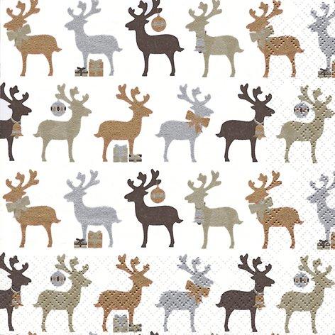 20 Servietten Reindeer Kupfer – Elche Kupfer/Weihnachten/Rentiere/Muster 33x33cm