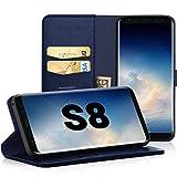 EasyAcc Hülle Hülle für Samsung Galaxy S8, Lederhülle PU Leder Flip Tasche Klappbar Schutzhülle Handyhülle mit [Ständer Funktion] Card Holder Kunstleder Cover Kompatibel mit Samsung Galaxy S8