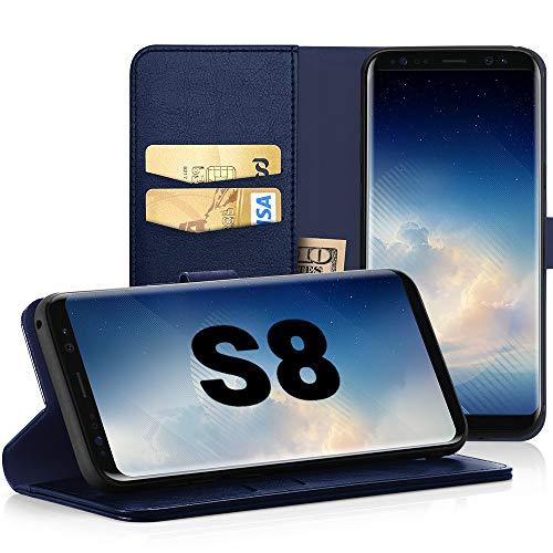 EasyAcc Hülle Case für Samsung Galaxy S8, Lederhülle PU Leder Flip Tasche Klappbar Schutzhülle Handyhülle mit [Ständer Funktion] Card Holder Kunstleder Cover Kompatibel mit Samsung Galaxy S8 - Blau