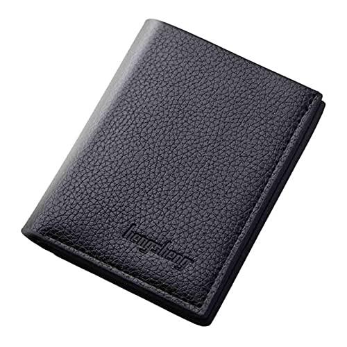 Cartera de los hombres corta vertical ultrafino billetera Banco tarjeta paquete pequeño monedero de cuero de los hombres recoger la cartera de embrague, Black,