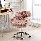 SSLine Desk Chair Faux Fur Task Chair,Modern Cute Accent Armchair Office...