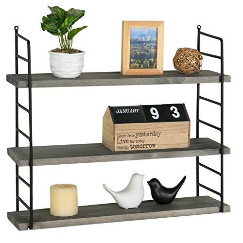 MyGift 3-Tier Industrial Metal and Dark Gray Wood Adjustable Wall Mounted Floating Display Storage Shelf for Bathroom, Bedroom, Kitchen