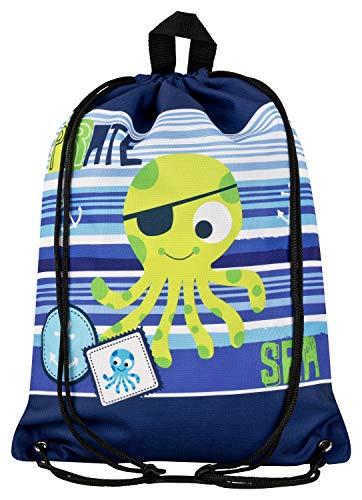 Aminata Kids - Kinder-Turnbeutel für Junge-n mit Piraten-Schiff Schatz Toten-Kopf-Flagge Pirat-en Sport-Tasche-n Gym-Bag Sport-Beutel-Tasche hell-blau dunkel-blau
