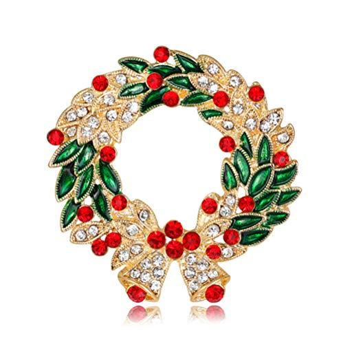 N\A Christmas wreath with rhinestones Brooch Pin Enamel glaze craft brooch for Clothing Jewelry