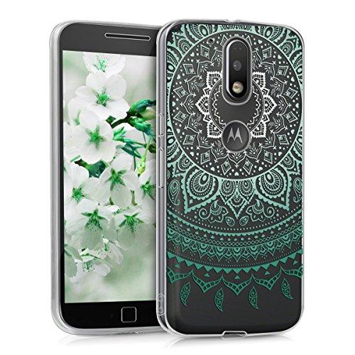 kwmobile Funda para Motorola Moto G4 / Moto G4 Plus - Carcasa de TPU para móvil y diseño de Sol hindú en Menta/Blanco/Transparente