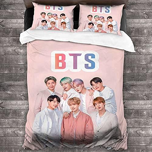Bangtan Boys Juego de ropa de cama BTS, adecuado para todas las estaciones, regalo para niños, cremallera oculta, juego de 3 piezas (BTS-5, 135 x 200 cm + 50 x 75 cm x 2)
