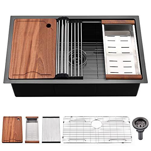 28 Black Undermount Kitchen Sink -SOMRXO 28 Inch Matte Black Stainless Steel Kitchen Sink Undermount Workstation Utility Sink 16 Gauge 10 Inch Deep Gunmmetal Single Bowl Kithchen Sink