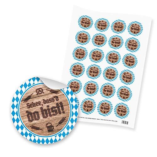 itenga 24x Sticker Aufkleber Schee dass'd do bist! aus Papier I Scrapbooking, Bayern I DIN A4 Bogen I je 4.0 cm I selbstklebend I ideal zum Basteln von Gastgeschenken oder Tischdekorationen