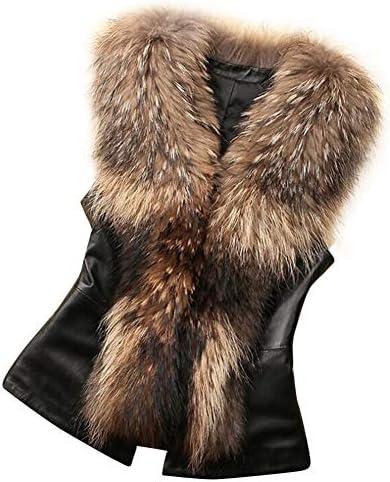 Nevera Women Faux Fur Vest Jacket Sleeveless Winter Body Warm Coat Waistcoat Gilet Brown product image
