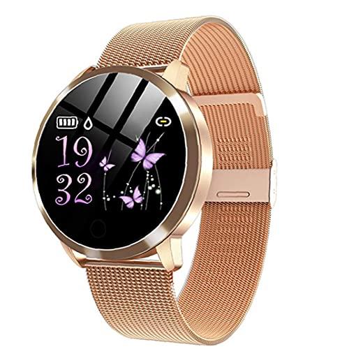 Relojes inteligentes Q8 impermeable de pulsera inteligente con la correa del metal de prueba del ritmo cardíaco del contador de paso del ciclo menstrual de las mujeres del oro de la electrónica