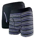 FARAH® - 2er Pack Herren Keine Baumwolle Gestreift Passform Trunk Boxershorts (Large, FCU175BLKPUR)