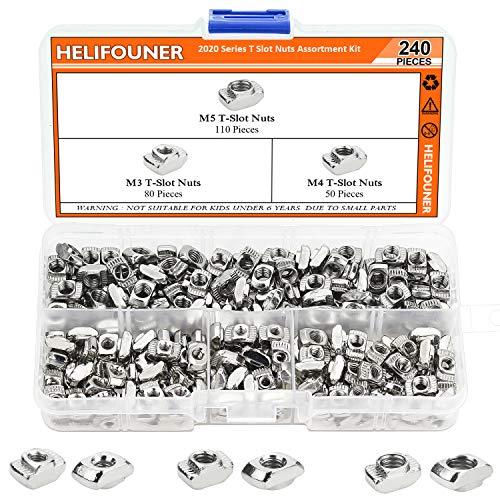 HELIFOUNER 240 Pieces 2020 Series T Nuts, M3 M4 M5 T Slot Nut Assortment Kit