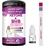 New NURSE HATTY - Dual Keto & BHB Urine Test Strips w/Control Solution for Ketone & Beta-Hydroxybutyrate Levels - Perfect Accessory to a Blood Ketone Meter - Extra Long Testing Strips - Fresh - 100ct
