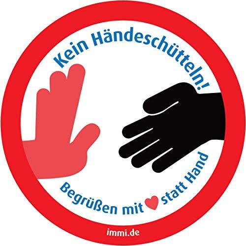 immi 4St. Kein Händeschütteln Aufkleber, Begrüßen mit Herz statt Hand, 95mmØ