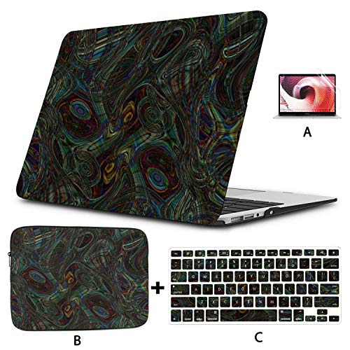 Macbook Air Accessories Colorful Fashion Peacock Feather Macbook Pro Protector Hard Shell Mac Air 11'/13' Pro 13'/15'/16' With Notebook Sleeve Bag For Macbook 2008-2020 Version