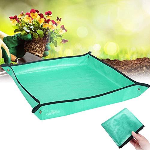 Migimi Esterilla de trabajo de polietileno, para jardinería, bolsa para plantas, (1 x 1 m), resistente al agua, esterilla de trabajo para plantas, trasplantar y plantar en balcón y terraza (verde)