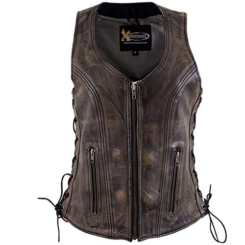 Xelement XS3900 Ladies 'Bella' Distress Brown Leather Vest with Side Laces - X-Large