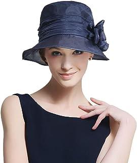 女性の日曜日の帽子、サマーシルク UVプロテクション バイザー 折り畳み式の屋外旅行のつばの広いビーチハット,調整可能なカーリングバケットキャップ