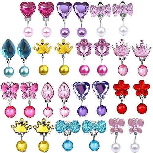 Ouinne 14 Paare Kinder Mädchen Ohrclips Box Set, Clip-on Kristall Ohrringe Mädchen Spielen Ohrringe Prinzessin Clip auf Ohrringe Set für Party Gefallen Verpackt