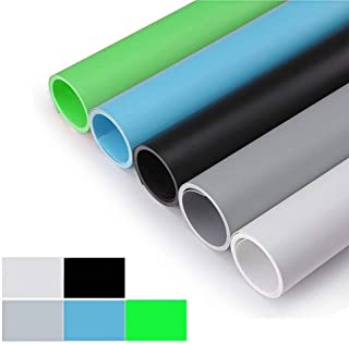 Meking Photography Studio Photo Waterproof Backdrop Matte PVC Background Set - White+Black+Gray+Blue+Green,16x26 Inch