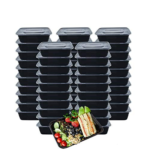 HOMEE Meal Prep Containers 50 Pack 26 oz Reusable Food Storage Containers Bento Lunch Box with Lids Made of Plastic Stackable Microwavable Freezer and Dishwasher Safe Use