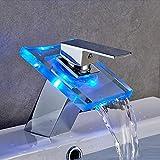 AuraLum Grifería Led de Vidrio Cascada de grifería de Lavabo con Cambio de Color RGB para el baño con Sensor de Temperatura