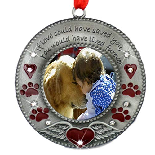 BANBERRY DESIGNS in Loving Memory Pet Ornament - Dog Memorial Christmas Photo Ornament - Furever in My Heart - Red Hearts with Angel Wings and Paw Prints - Cat Sympathy Gifts - Loss of a Pet