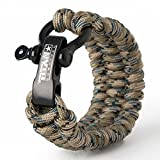 Titan Paracord Survival Bracelet | Forest CAMO | Medium (Fits 7' - 8' Wrist) | Made with Authentic Patented SurvivorCord (550 Paracord, Fishing line, Snare Wire, and Waxed Jute for Fires).