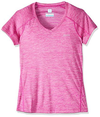 Columbia Mujer Camiseta, ZERO RULES SHORT SLEEVE SHIRT, Poliéster, Rosa (Haute Pink Heather), Talla: L, 1533571