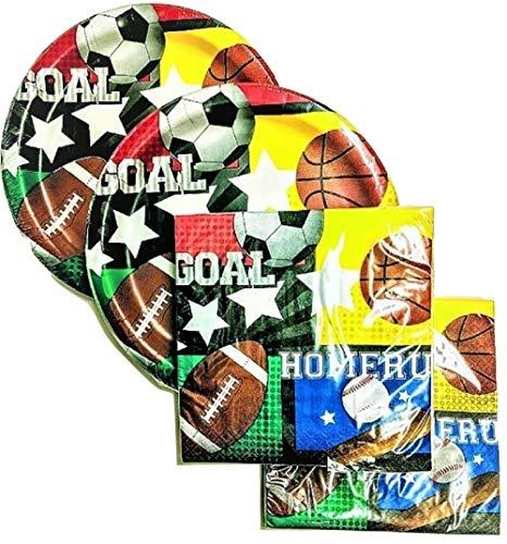 Sport Mottoparty Supply Pack–36Teller und 40Servietten–Baseball, Fußball, Fußball, Basketball,