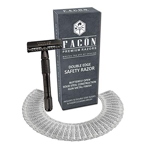 50 BLADES + Facón Classic Long Handle Double Edge Safety Razor - Platinum Japanese Stainless Steel Blades - Butterfly Open Shaving Razor for Smooth Wet Shaving Experience - 200+ Shaves