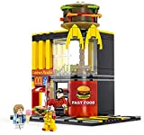 City Street View - Mcdonalding Building Blocks Coffee Shop Hamburger Kits Compatible Block Juguetes para Niños Regalos