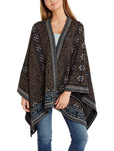 Invisible World Damen Alpaka Poncho – Ruana Cape aus 100% Alpaka Wolle für Herbst und Winter – Sarah
