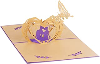 Creative 3D Greeting Card Handmade Paper Carved Hollow Birthday Valentine's Day Purple