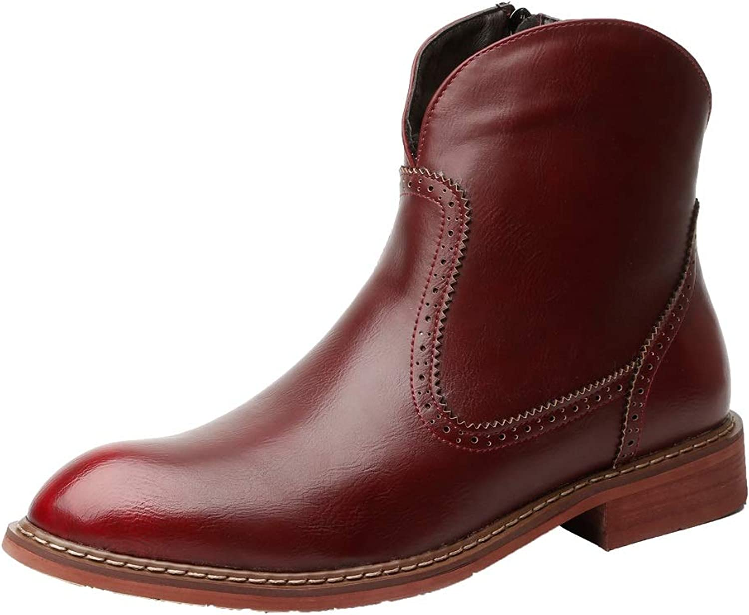 YAJIE-Boots, Men's Boots, Casual British Style Simple Anti-slip Outsole Side Zipper Popular Retro Trend Martin Boots (color   Claret Red, Size   8 UK)