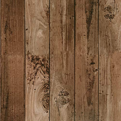 Symoden 17.7' x 118' Wood Contact Paper Vintage Peel and Stick Wallpaper Self-Adhesive Removable Rustic Wood Wallpaper Faux Distressed Waterproof Wallpaper