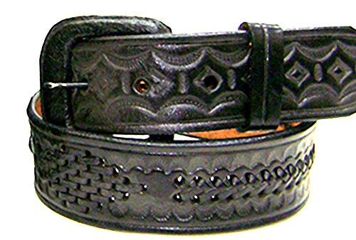 Modestone Western Embossed Diamond Single Braid Ceinture Cuir 1.5'' 28 Black