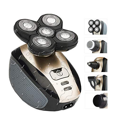 Afeitadora de cabeza Jsdoin 5 en 1 USB eléctrica para hombres IPX7 impermeable en húmedo y seco con cabezal giratorio 5D flotante incluye cortafelas, recortadora de pelo, cepillo de limpieza facial