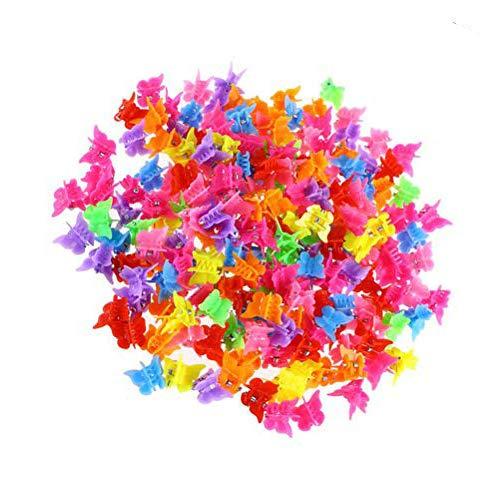 Wisvis 100 Stück Mini Haarspangen Haargreifer Klaue Clips Pins Mini Schmetterling Haarspangen Haarschmuck für Kinder Mädchen Frauen