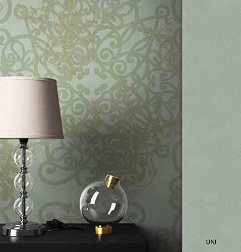NEWROOM Barocktapete Tapete Grün Ornament Barock Vliestapete Pearl Vlies moderne Design Optik Barocktapete Wohnzimmer Glamour inkl. Tapezier Ratgeber