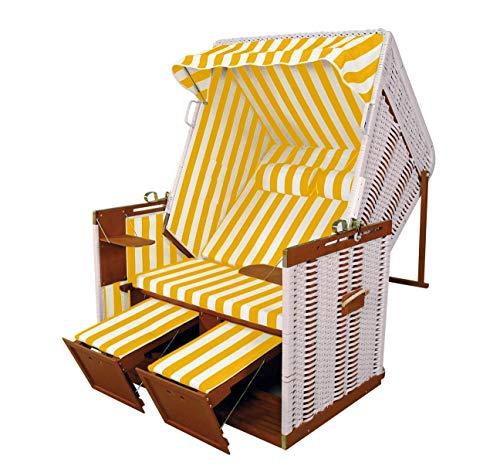Hansen 10/551/1/1 Nordseestrandkorb aufgebaut, Holz mittelbraun, Kunststoffgeflecht in weiß, Bezug: gelb-weiß gestreift B 125 T 86 H 154 cm