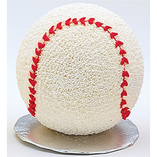Wilton 3D Sports Ball Cake Pan, Create Any Ball Shaped Cake, from a Golf Ball, Basket Ball or Baseball to Planetary Spheres or a Happy Face Emojis, 4-Piece Set Includes 2 Stands and 2 Pans, 6-inch