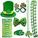 9PCS St. Patrick's Day Costume Accessories Party Favor Set with Leprechaun Green Top Hat, Shamrock Bead Necklaces, Mustaches, Rubber Bracelets, Clover Bow Tie, Shamrock glasses for Irish Party Supplies