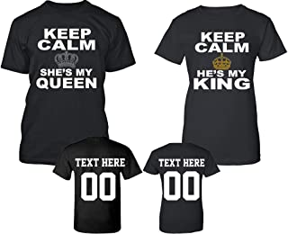 Keep Calm King Queen Pattern Customized Text Name Design Couple Hoodie Crewneck Sweatshirt Tank top & T-Shirt